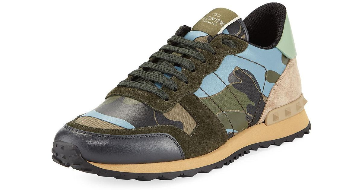 11b15c87d680e Valentino Men's Rockrunner Camu Trainer Sneakers in Green for Men - Lyst