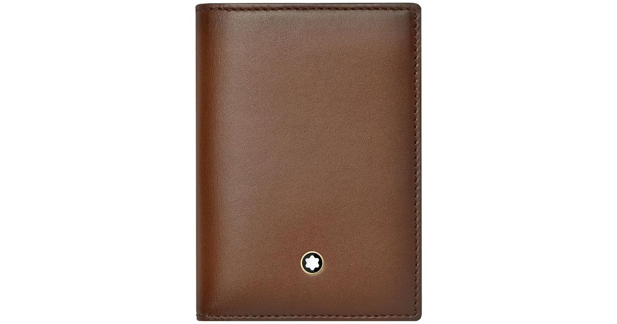 Lyst - Montblanc Leather Business Card Holder in Brown for Men - Save 8%