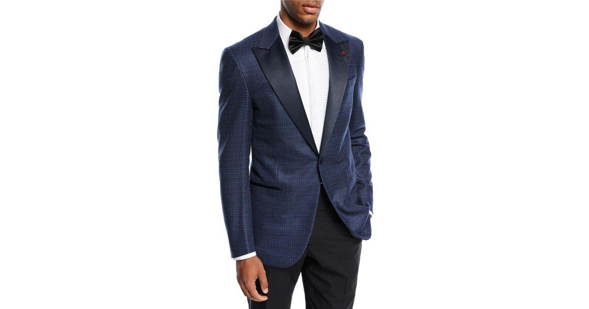 half off choose original excellent quality Isaia Blue Textured Satin-lapel Dinner Jacket for men