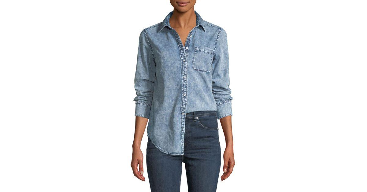 8e1d17419cb Lyst - Rag   Bone Bleachout Classic Long-sleeve Button-down Denim Shirt in  Blue