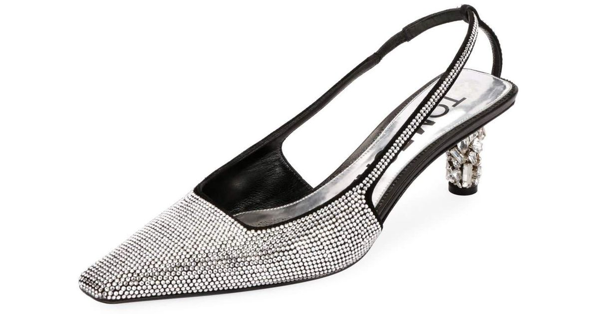 95caccd0a0e8 Lyst - Tom Ford Crystal-beaded Slingback Pumps in White