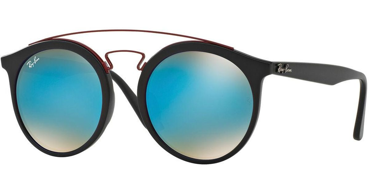 0dcf5763a6f21 Ray-Ban Men s Round Double-bridge Mirrored Acetate Sunglasses in Black for  Men - Lyst