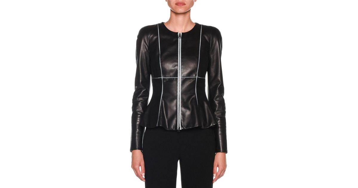 5c4d1db61 Giorgio Armani - Black Zip-front Piped Fit & Flare Leather Jacket - Lyst