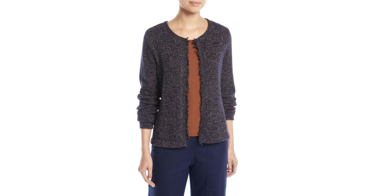 0290f956254 Lyst - Eileen Fisher Fringed-edge Round-neck Cardigan Petite in Blue