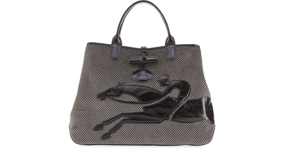 d07cb9a89f5c Lyst - Longchamp Roseau Double-jeu Large Tote Bag in Black