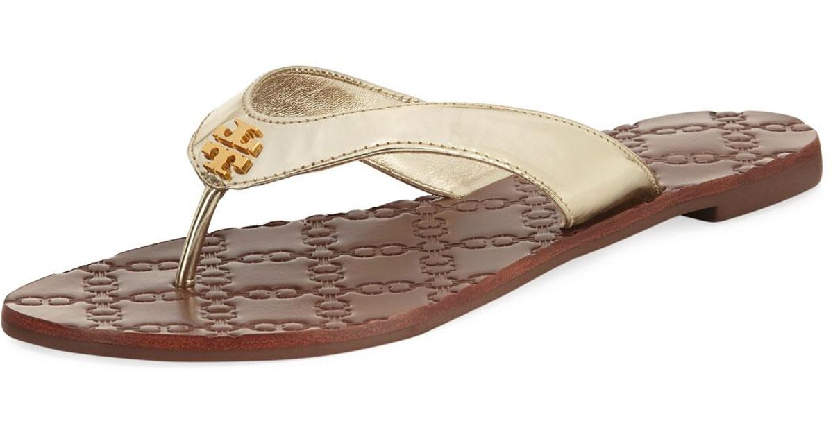 2ffc0770306 Lyst - Tory Burch Monroe Metallic Flat Thong Sandal in Metallic