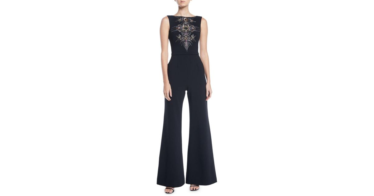 f5fa7e1dcf Lyst - THEIA Bateau-neck Micro-beaded Jumpsuit in Black - Save 70%