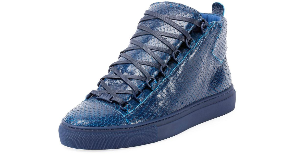 b736d05f7191d Lyst - Balenciaga Men s Arena Faux-python Leather High-top Sneaker in Blue  for Men