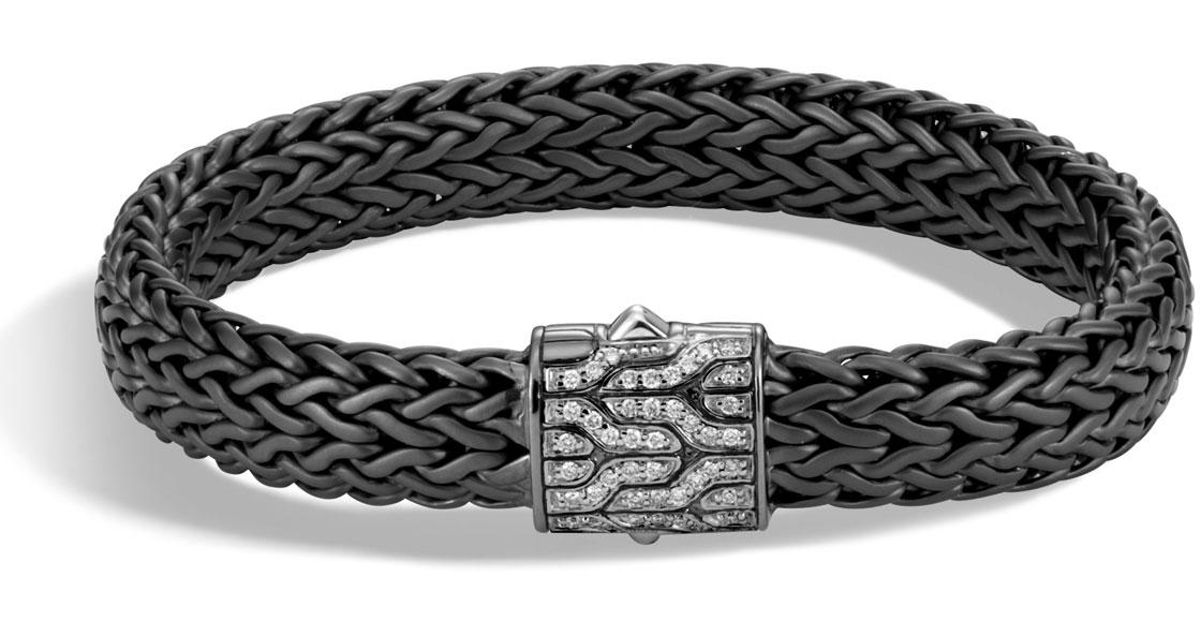 John Hardy Mens Classic Chain Rhodium-Plated Bracelet with Diamonds, Black/Silver