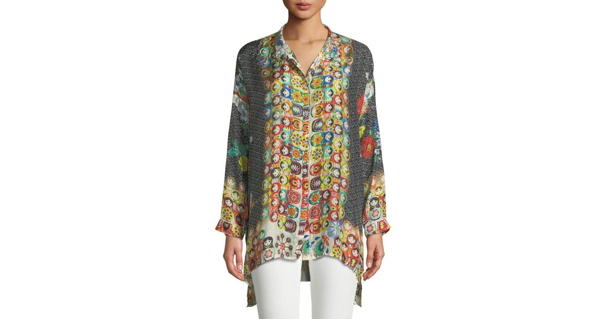 66370a903d1 Johnny Was Babette Graphic-print Button-front Blouse - Lyst