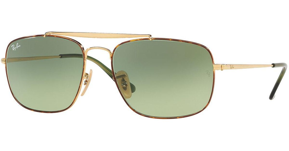 3ad29ebcd4f Lyst - Ray-Ban Men s The Colonel 58mm Square Metal Aviator Sunglasses in  Green for Men