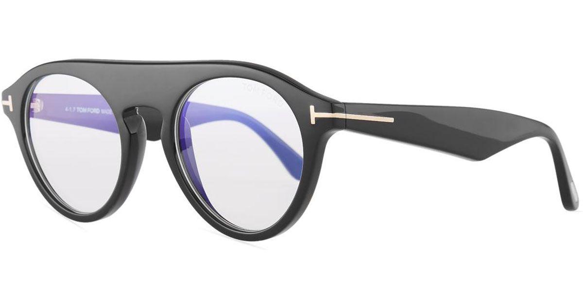 ba072dc118973 Lyst - Tom Ford Blue Block Round Glasses in Black for Men
