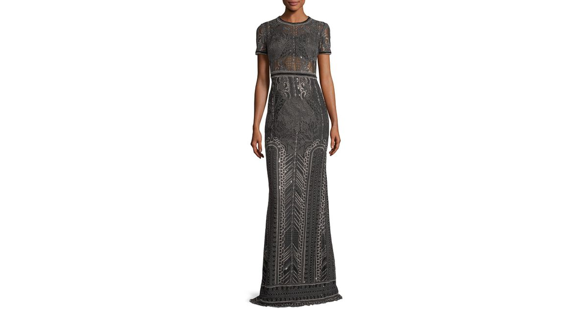 674abb0b Marchesa notte Embroidered Lace Cap-sleeve Column Evening Gown in Gray -  Lyst