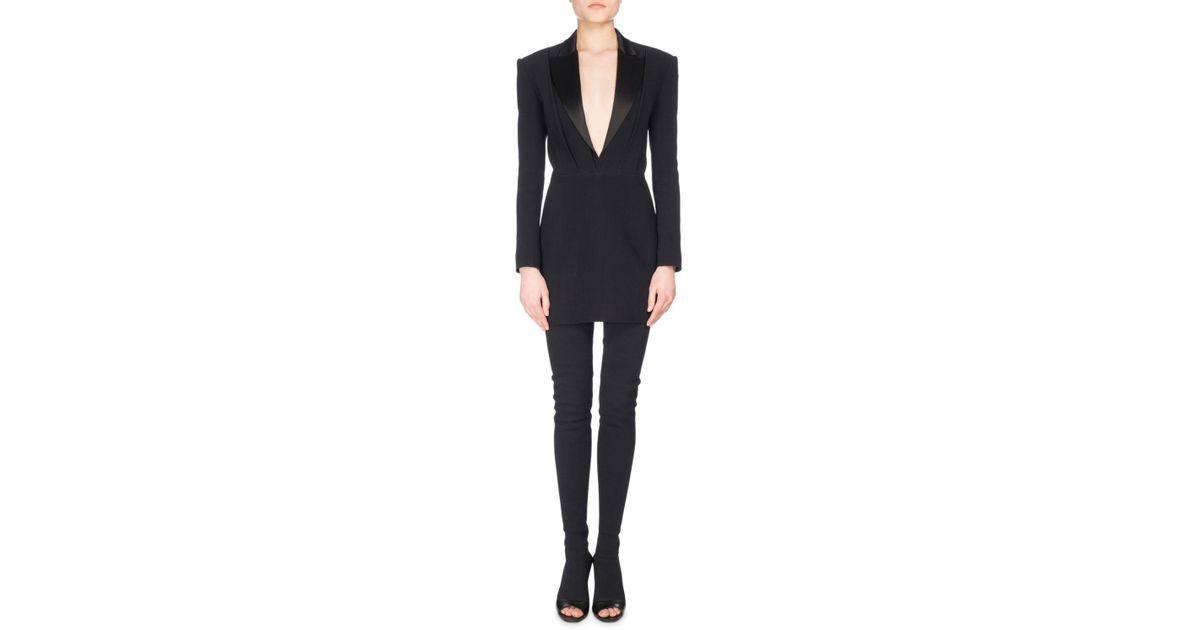 4b2a3f0efcab Balmain Satin-lapel V-neck Crepe Tuxedo Mini Dress in Black - Lyst