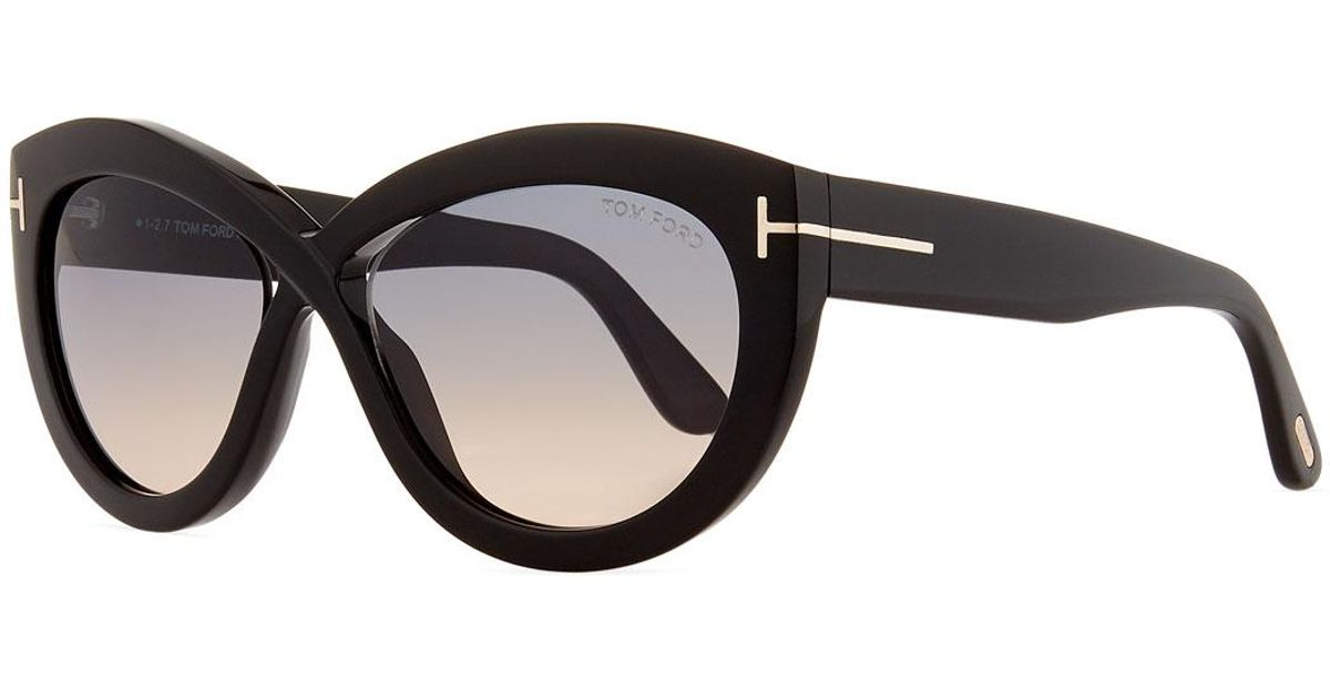 b921470845 Lyst - Tom Ford Diane Acetate Butterfly Sunglasses in Black