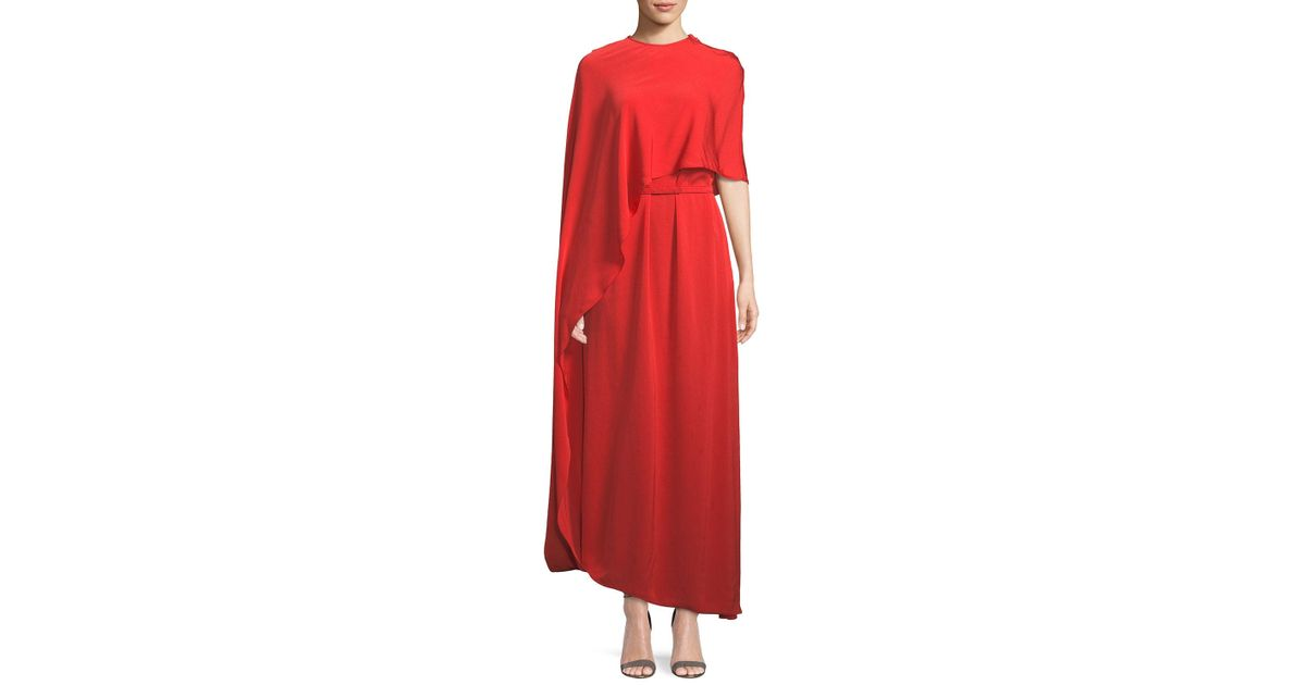 3ae431440a1 Stella McCartney One Side Long Cape Belted Jersey Evening Gown in Orange -  Lyst
