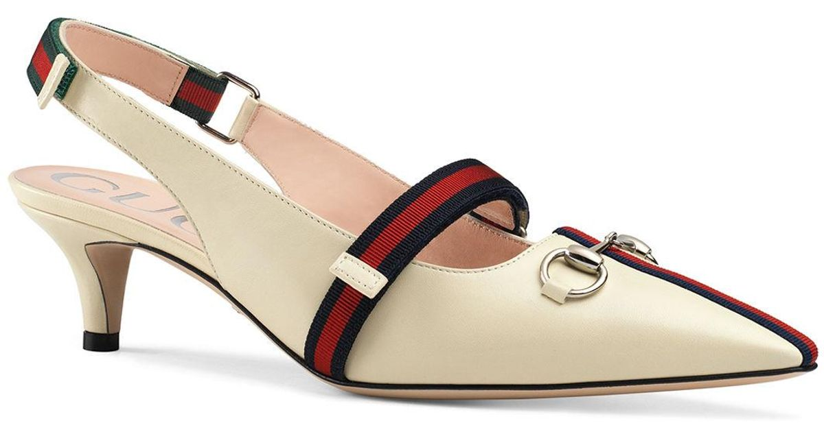 30c079439c Lyst - Gucci Horsebit Leather Slingback Pumps in Brown