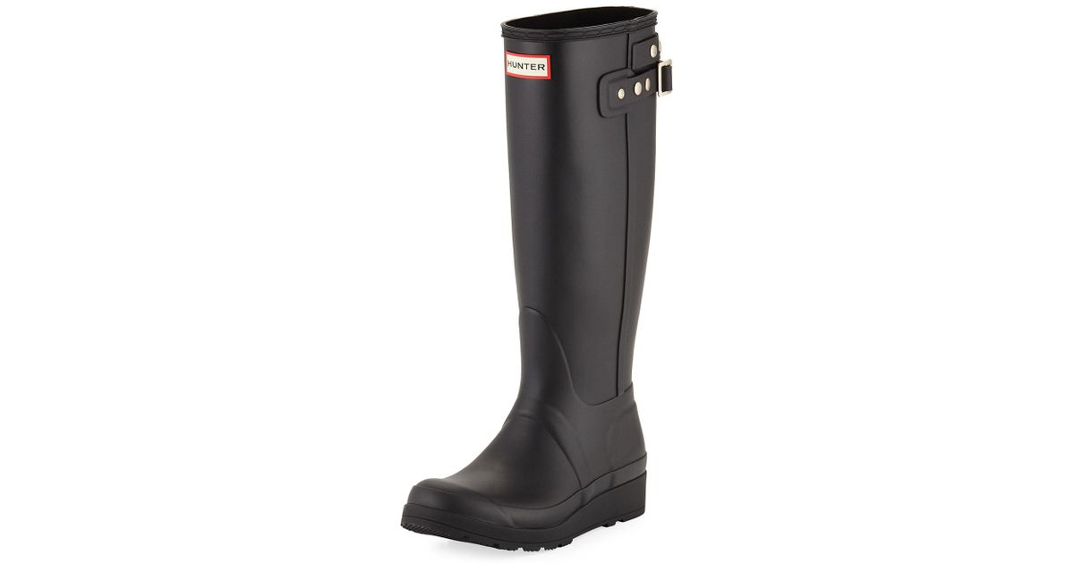 9c26ca9535ac3 Lyst - HUNTER Original Tall Wedge Rubber Welly Boot in Black