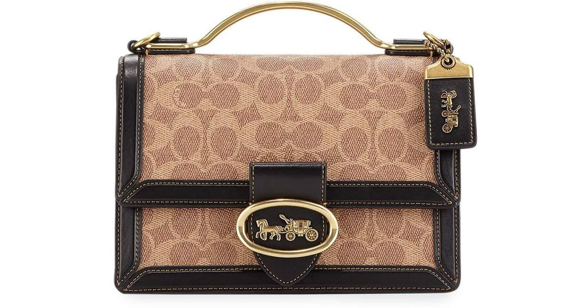 55a186812f5 COACH Riley Top Handle 22 Bag In Black Signature Coated Canvas in Black -  Lyst