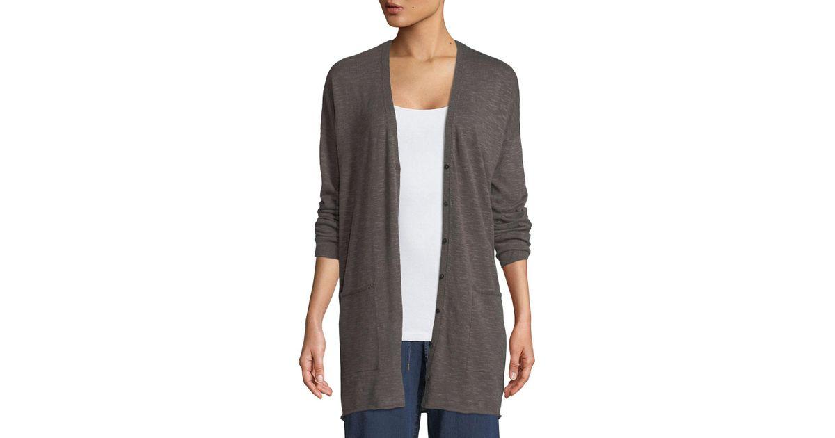 12f77c64d8 Lyst - Eileen Fisher Linen-blend Button-front Slub Cardigan in Gray