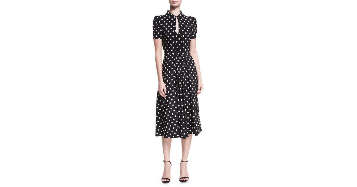 e2e6a8f8523 Ralph Lauren Collection - Black Mariella Polka-dot Short-sleeve Midi Dress  - Lyst