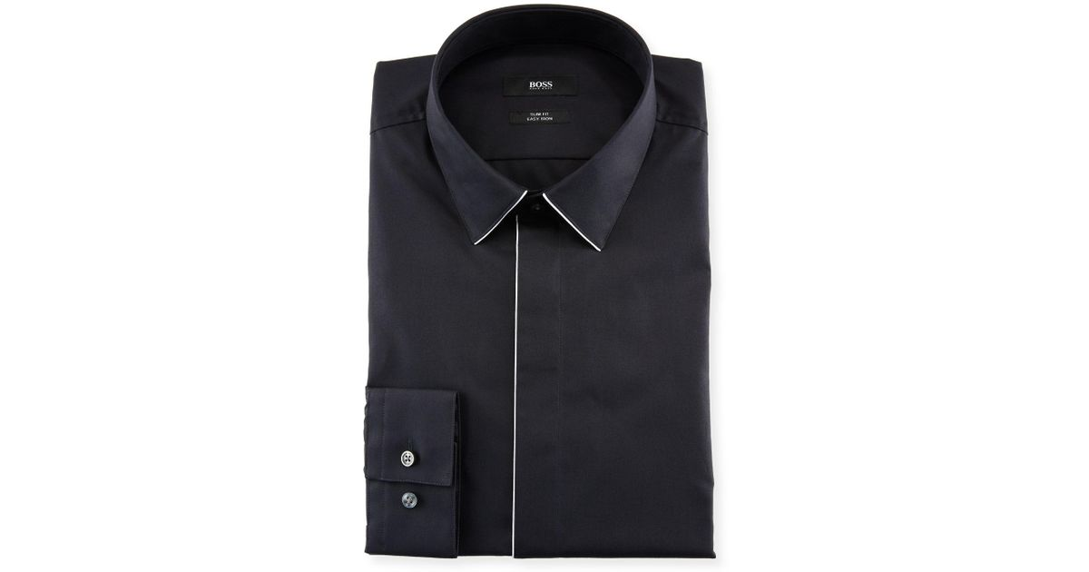 7f04142d6 BOSS Men's Slim Fit Easy Iron Contrast-piping Dress Shirt in Black for Men  - Lyst