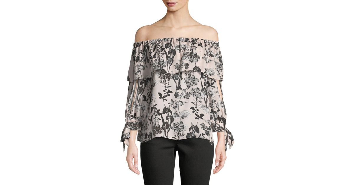 364d280415a05 Lyst - Parker Mandy Off-the-shoulder Silk Blouse in Pink