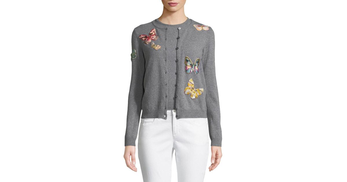 Lyst - Valentino Butterfly-embroidered Button-front Wool-cashmere Cardigan  Set in Gray f63c38334