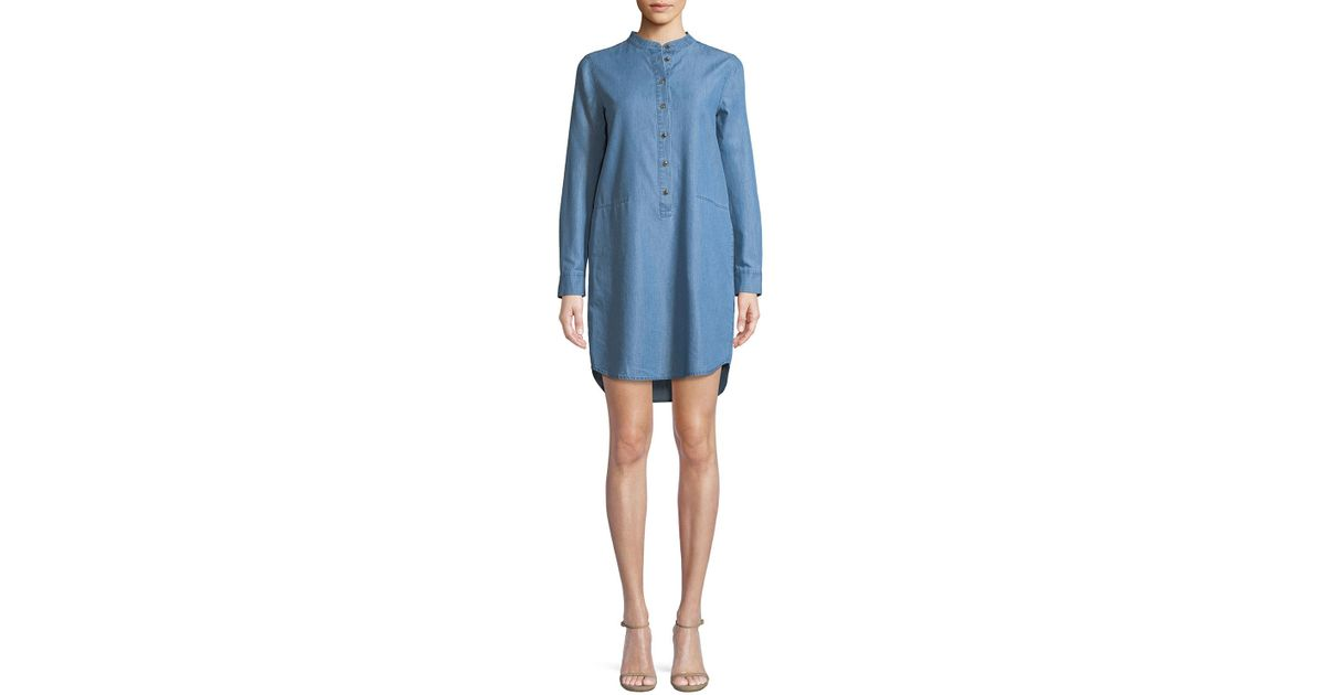 77cd1318a3 Lyst - MICHAEL Michael Kors Cadet-wash Chambray Shirt Dress in Blue