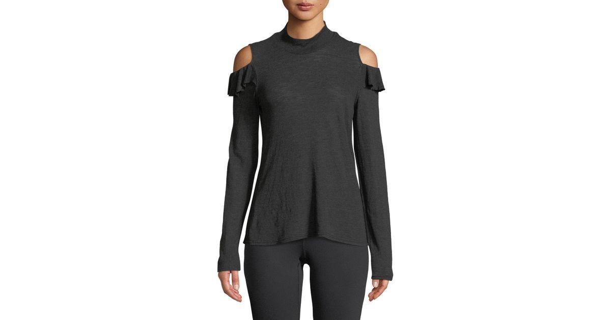 01900faf8265a Lyst - Lanston Turtleneck Ruffle Cold-shoulder Top in Black