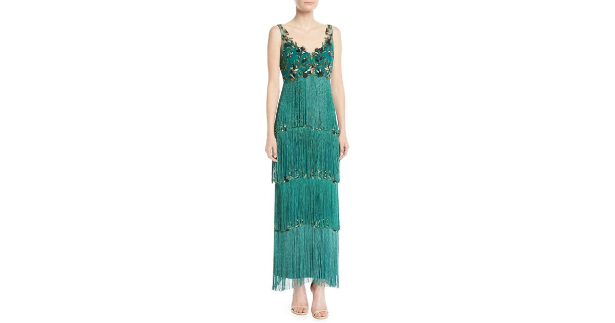 566e6afa3a Lyst - Marchesa notte Sleeveless Embroidered Fringe Gown in Green