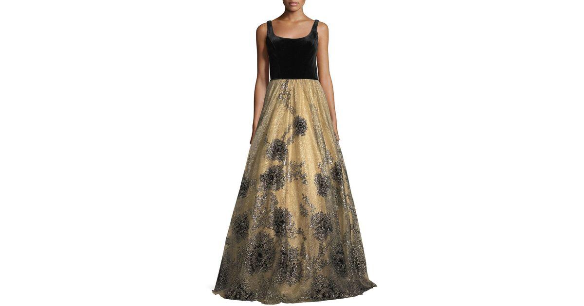 Lyst - Jovani Sleeveless Scoop-neck Velvet Beaded Tulle Evening Gown