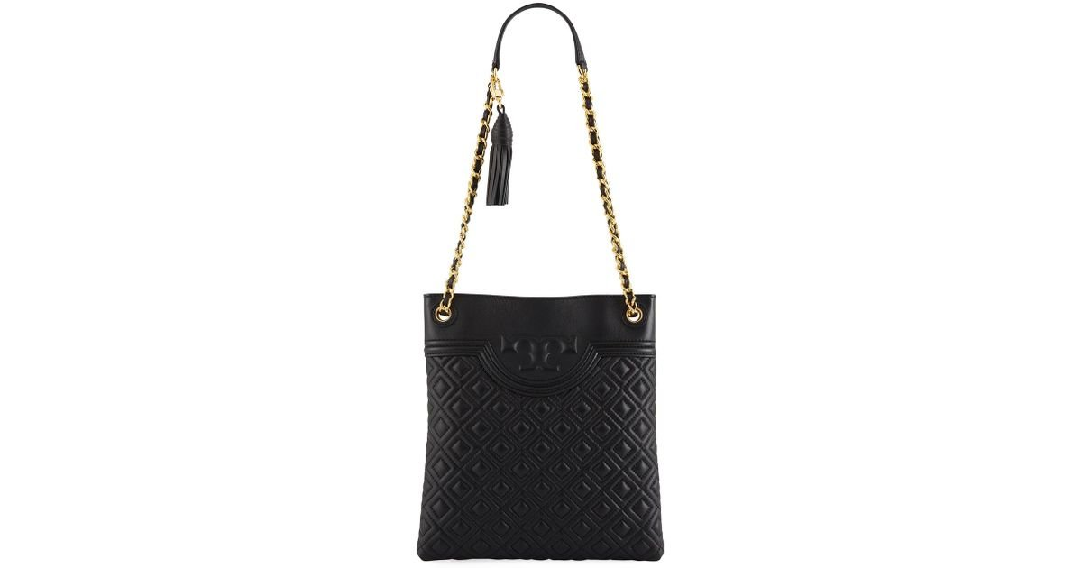 3d287a96b8f8 Lyst - Tory Burch Fleming Diamond-quilted Swing-pack Tote Bag - Brass  Hardware in Black