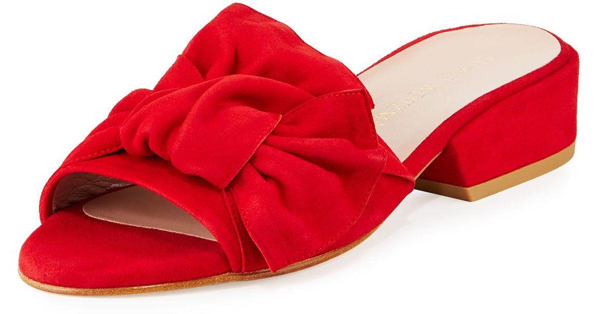 lyst stuart weitzman giftwrap suede bow slide sandal in red