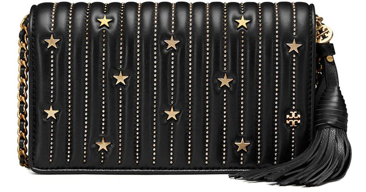 f9f684013afd Lyst - Tory Burch Star Stud Flat Crossbody Wallet in Black