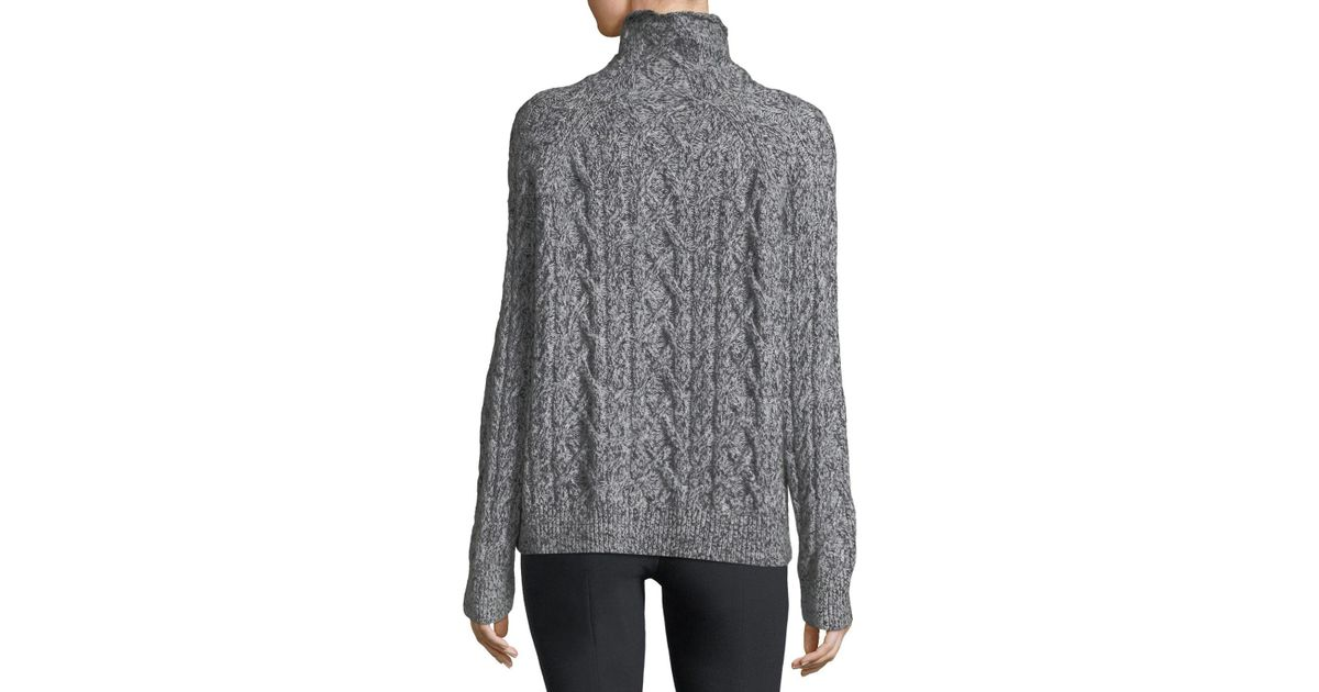 2c6070d831cb Lyst - Vince Oversized Cable-knit Turtleneck Sweater in Black