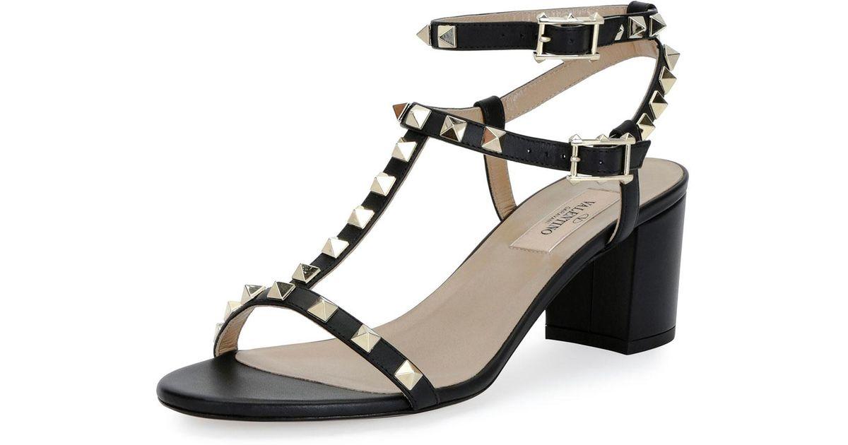 d1f62247b4e Lyst - Valentino Rockstud T-strap 60mm Sandal in Black