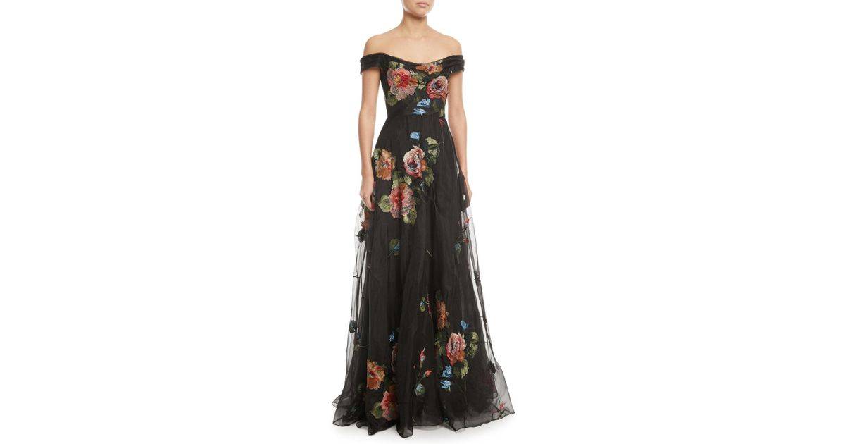 Lyst - Marchesa Notte Off-the-shoulder Embroidered Silk Organza Ball ...