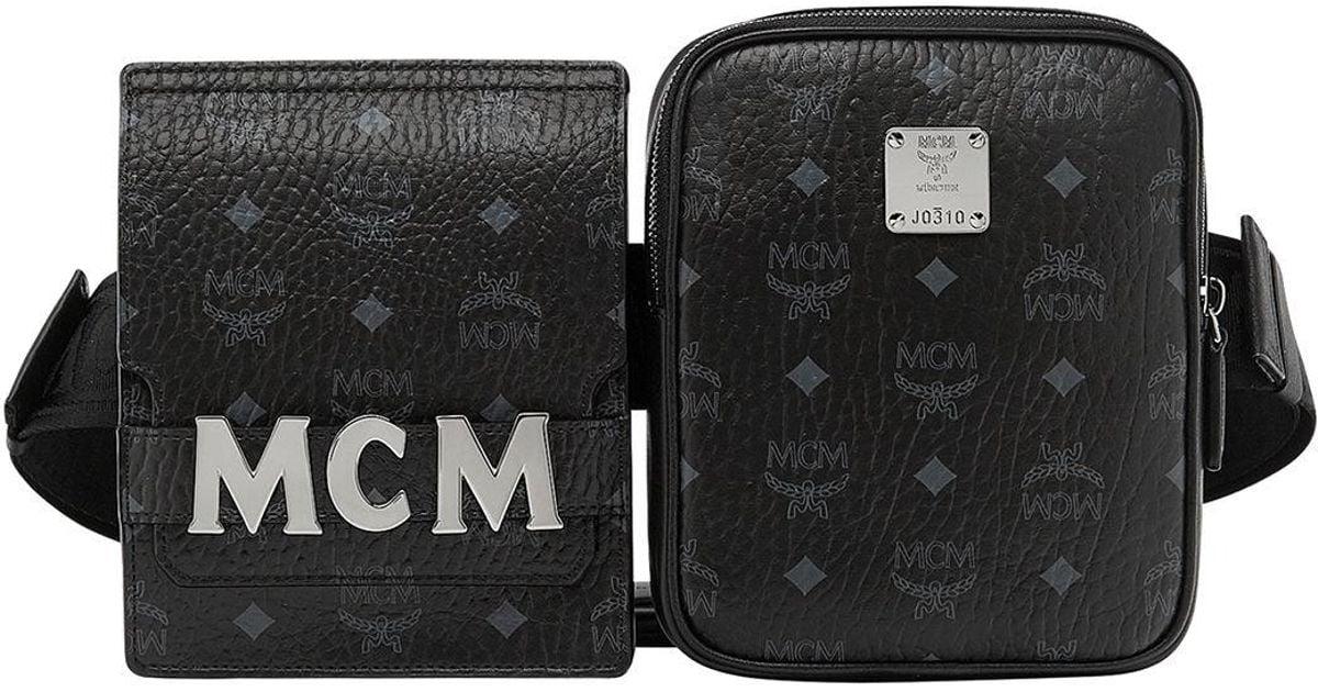 304dace1f78a Lyst - MCM Stark Double Logo Belt Bag in Black for Men