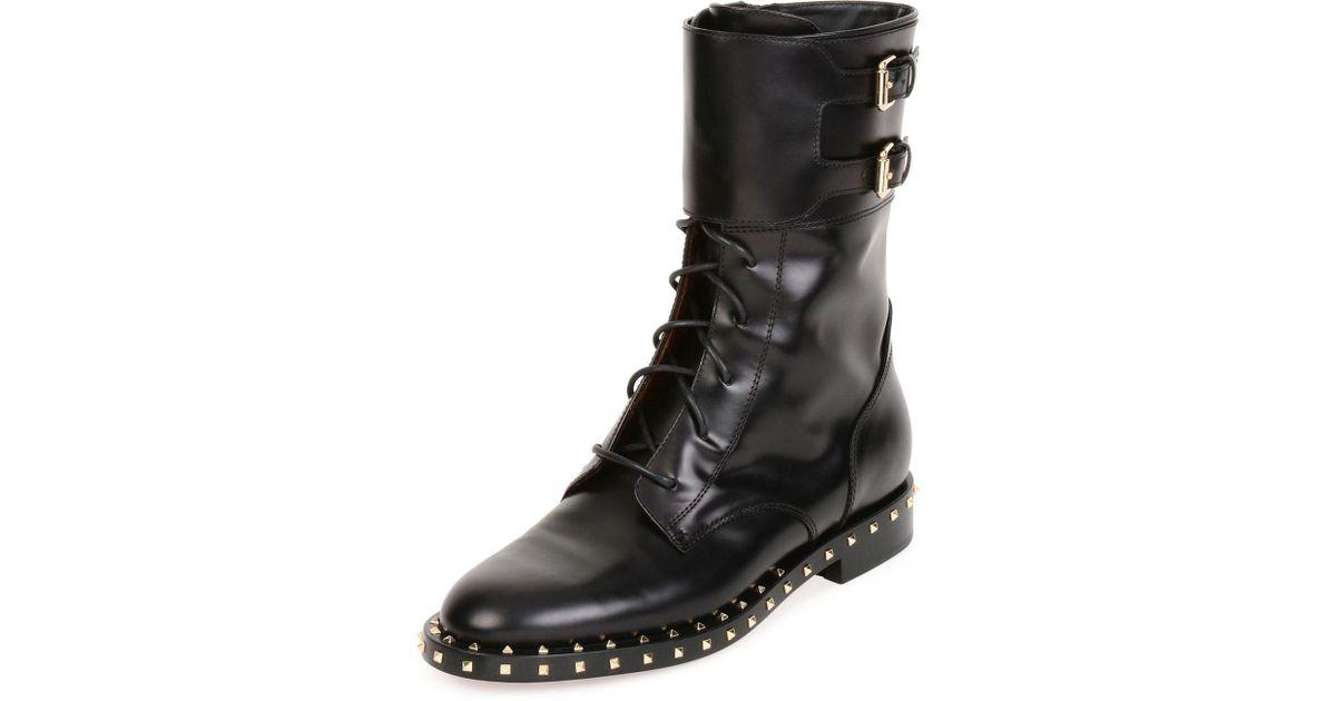 c6e6aaa4b376c Lyst - Valentino Soul Rockstud Leather Moto Boot in Black