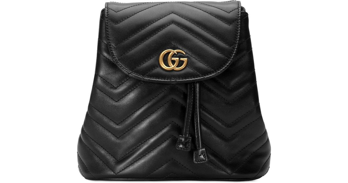 e72b31c0c0b Lyst - Gucci GG Marmont Chevron-quilted Leather Backpack in Black - Save 9%