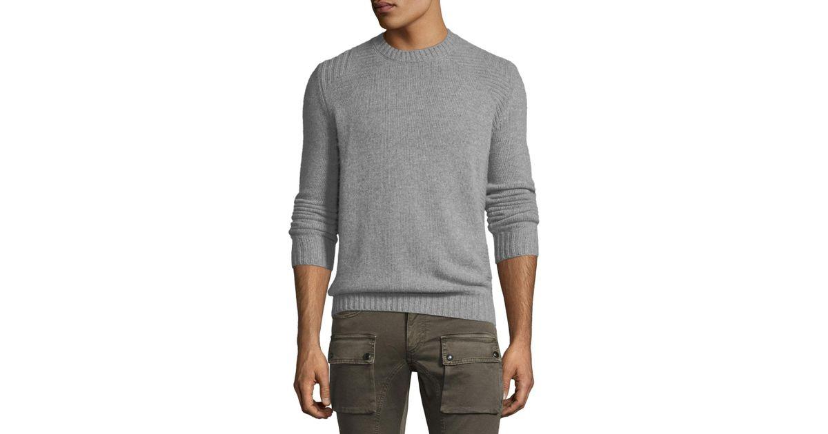 2654ea6cf767 Lyst - Belstaff Lanson Virgin Wool-cashmere Crewneck Sweater in Gray for Men