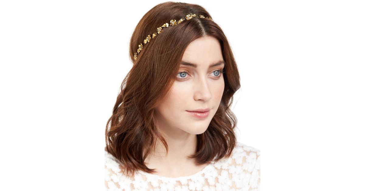 Lyst - Jennifer Behr Margaux Flower   Leaf Bandeau Headband in Metallic 9b7aa608dce