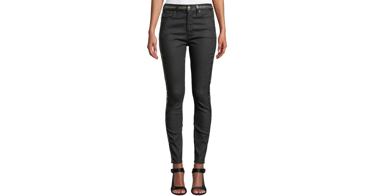 641a9b239d09 LA by alice + olivia Good High-rise Studded Ankle Skinny Jeans in Black
