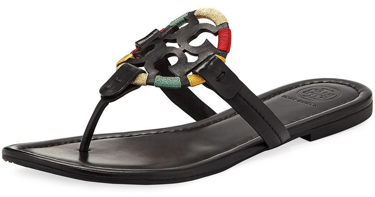 2f54c0feea30 Lyst - Tory Burch Miller Flat Embroidered Medallion Sandal in Black
