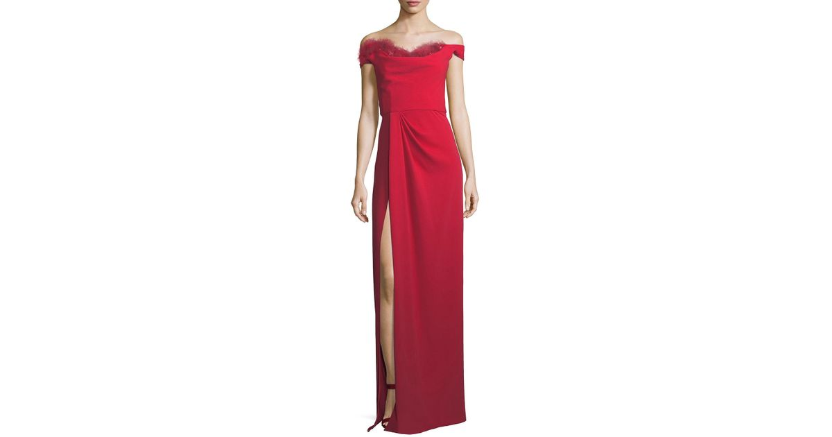 c1e425c04f2 Lyst - Marchesa notte Off-the-shoulder Crepe High-slit Gown in Red