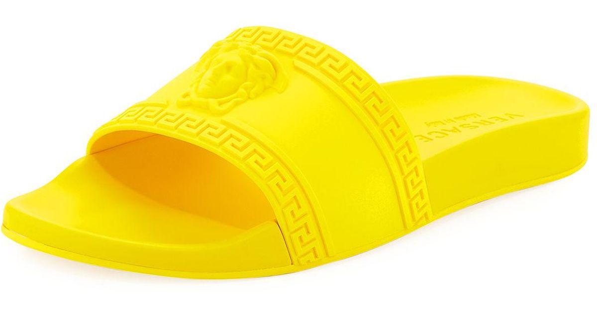 6202ee182 Lyst - Versace Men s Medusa   Greek Key Shower Slide Sandals in Yellow for  Men