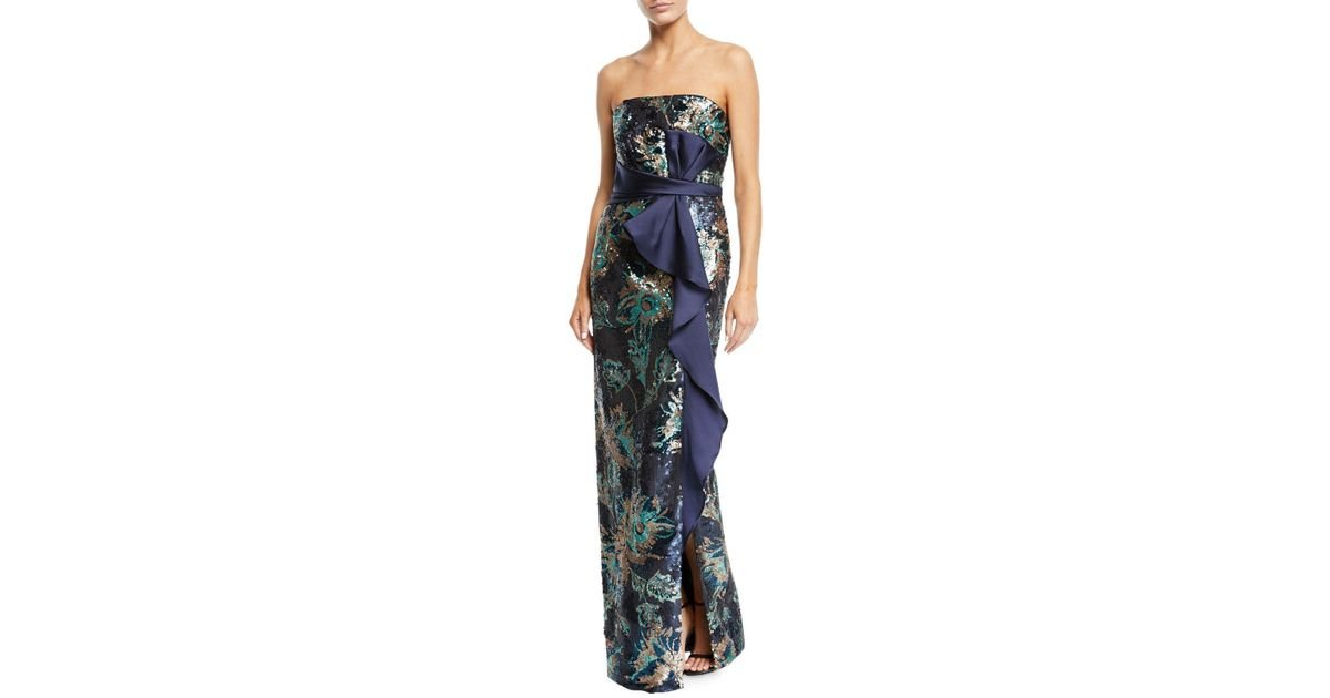 44ab00ea9d Marchesa notte Strapless Sequin Peony Column Gown in Blue - Lyst