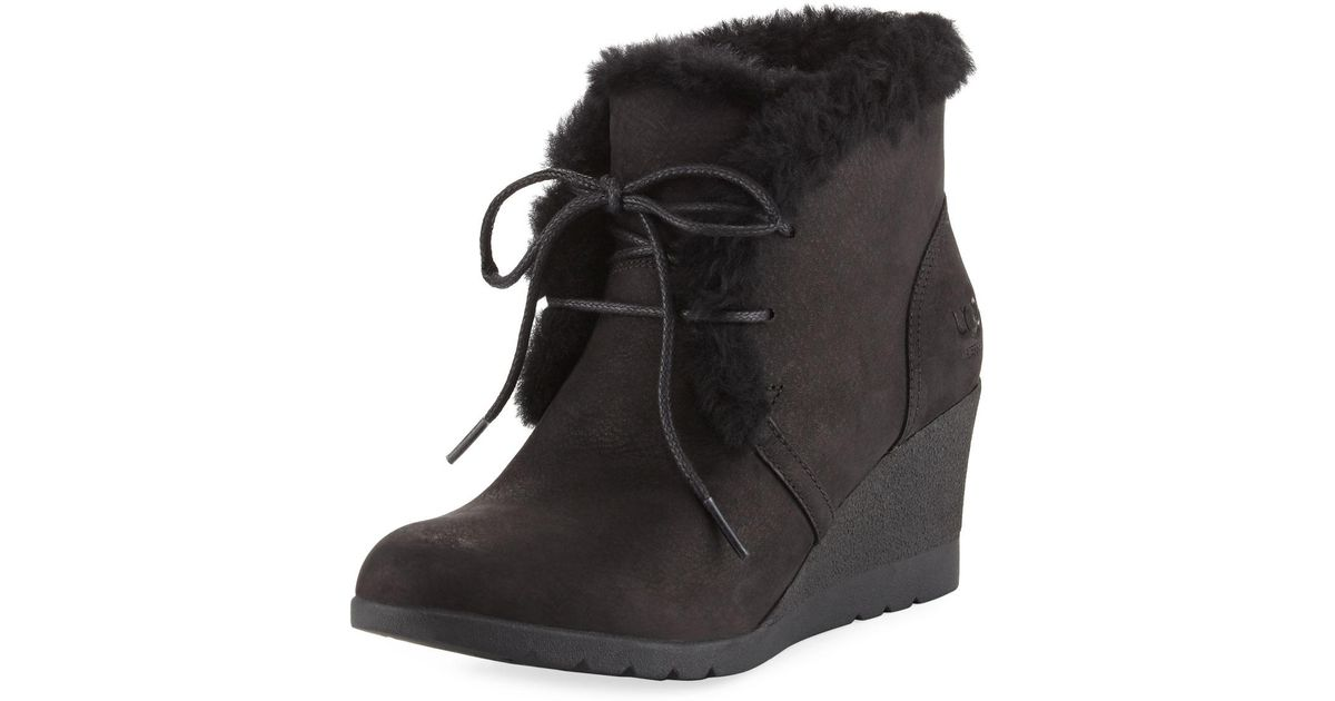 dd2da36f9ad Lyst - UGG Jeovana Lace-up Wedge Bootie in Black