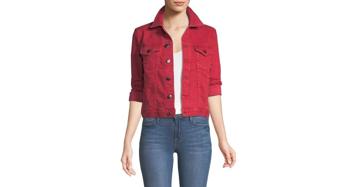 9d4c4807e5e Lyst - FRAME Le Vintage Button-down Denim Jacket in Red